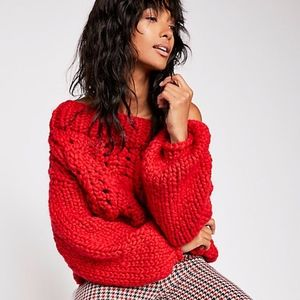 Free people X Loopy mango Off Her Shoulder Sweater